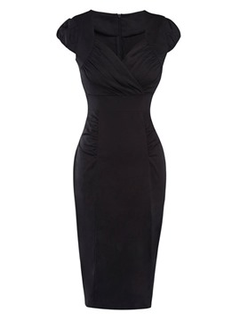 Ericdress Slim Pleated Patchwork V-Neck Sheath Dress
