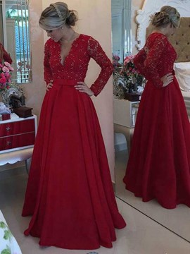 Ericdress Charming Illusion Neckline Long Sleeves Mother Of The Bride Dress