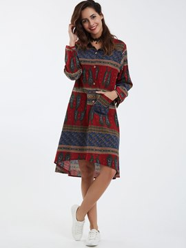 Ericdress Ethnic Lapel Geometric A-Line Casual Dress