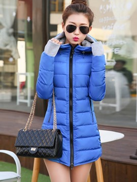 Ericdress Color Block Slim Hooded Winter Coat