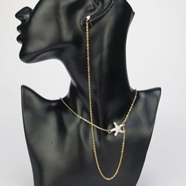 Ericdress Starfish Diamante Golden Necklace with Earring