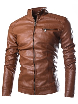 Ericdress PU Stand Colalr Zip Slim Men's Jacket