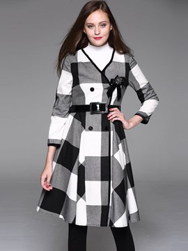 Ericdress Slim V-Neck Wave Cut Plaid Coat