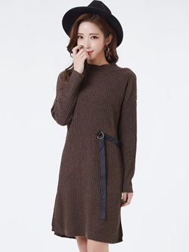 Ericdress Round Neck Plain Sweater Dress