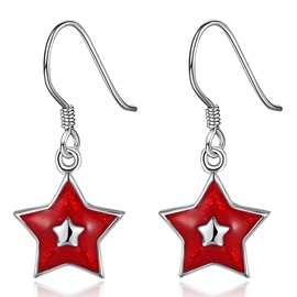 Ericdress Red Five-Pointed Star Design Earrings
