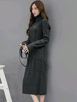 Ericdress Turtleneck Weave Straight Mid-Calf Sweater Dress