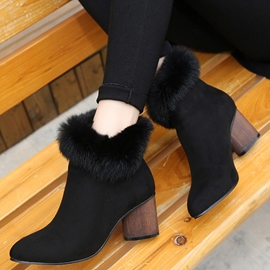 Ericdress Noble Furry Point Toe Ankle Boots