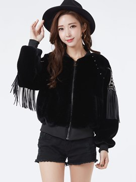 Ericdress Solid Color Loose Tassel Casual Jacket