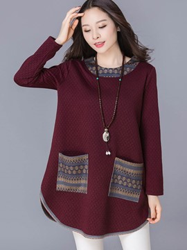 Ericdress Loose Color Block Plus Size Hoodie