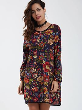 Ericdress Hemming Round Neck Flower Printed Casual Dress