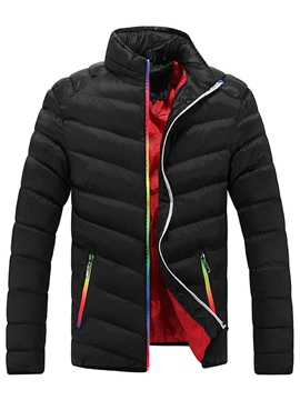 Ericdress Vogue Color Block Zip Thicken Warm Men's Jacket