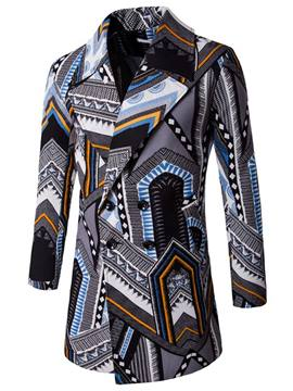 Ericdress Ethnic Style Unique Print Mid-length Men's Trench Coat