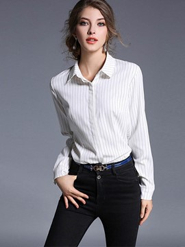 Ericdress Vertical Stripe Lapel Blouse