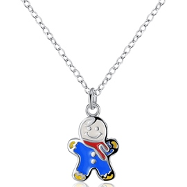 Ericdress Blue Snowman Pendant Necklace