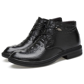 Ericdress Black Croco Embossed Men's Martin Boots