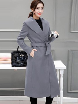 Ericdress Solid Color Slim Turn-Down Long Coat