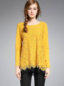 Ericdress Floral Lace Panel Pleated Blouse