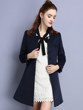 Ericdress European Single-Breasted Square Collar Coat