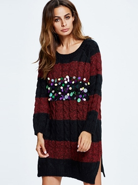 Ericdress Sequins Embroidery Strip Patchwork Loose Sweater Dress