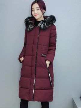 Ericdress Straight Faux Fur Collar Plus Size Coat