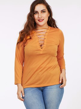 Ericdress Plus Size Race-Up Orange T-Shirt
