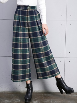 Ericdress Vintage Plaid Print Thick Wide Legs Pants