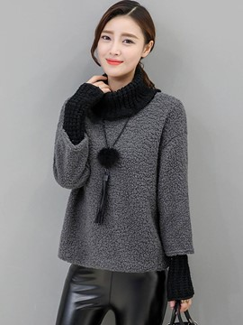 Ericdress Color Block Fleece Patchwork Hoodie