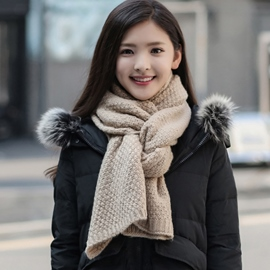 Ericdress Pure Color Wool Yarn Knitted Scarf for Women