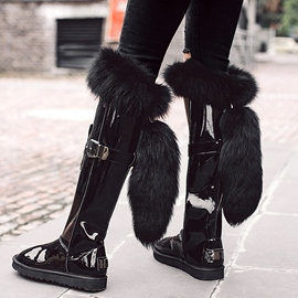 Ericdress Black Luxurious Furry Knee High Boots