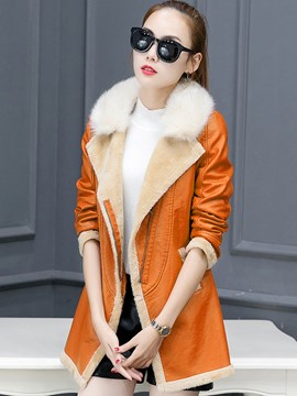 Ericdress Color Block Slim Fleece Coat