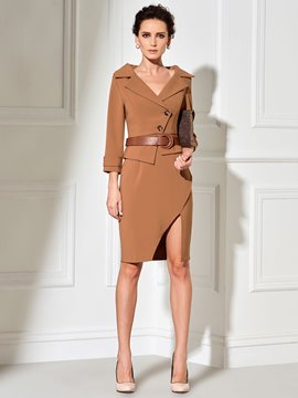 Ericdress Notched Lapel Asymmetric Split Belt Bodycon Dress