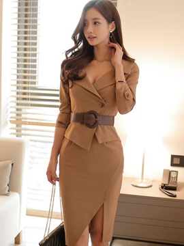 Ericdress Pleated Notched Lapel One Button Skirt Suit