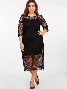 Ericdress Lace Floral Hollow Patchwork Straight Lace Dress