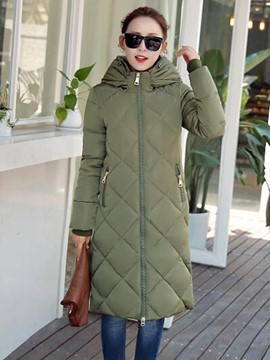 Ericdress Slim Solid Color Hooded Plus Size Coat