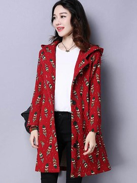 Ericdress Loose Printed Casual Hooded Trench Coat