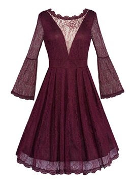 Ericdress Flare Sleeve Patchwork Lace See-Through Pleated Casual Dress