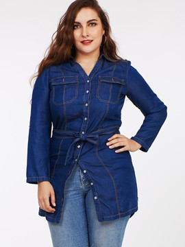 Ericdress Plus Size Single-Breasted Belt Denim Blouse