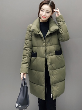 Ericdress Color Block Loose Thick Coat