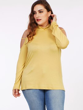 Ericdress Yellow Plus Size Cold Shoulder T-Shirt