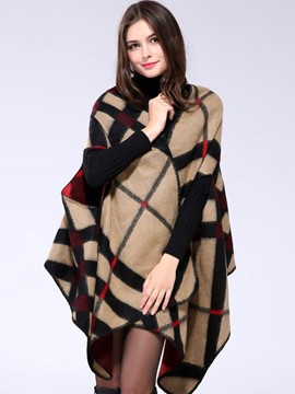 Ericdress Loose Irregular Hem Plaid Cape