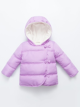 Ericdress Bow Hooded Plain Cotton-padded Girls Jacket