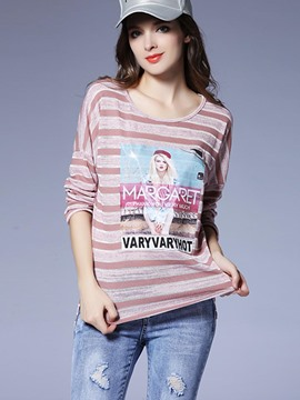 Ericdress Stripe Pullover Womens T-Shirt