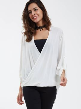 Ericdress Loose V-Neck Cross Solid Color Blouse