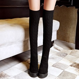 Eicdress Kintting Patchwork Over The Knee Boots
