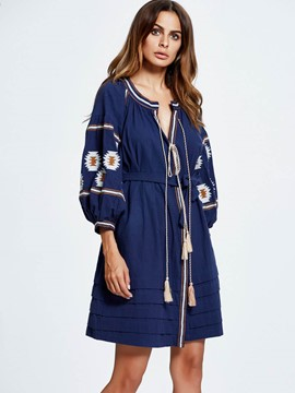 Ericdress Loose Color Block Embroidery Trench Coat