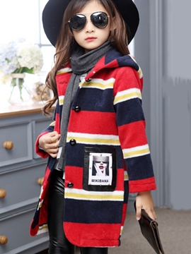 Ericdress Color Block Stripe Hooded Girls Wool Coat