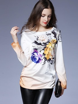 Ericdress Floral Print Pullover T-Shirt