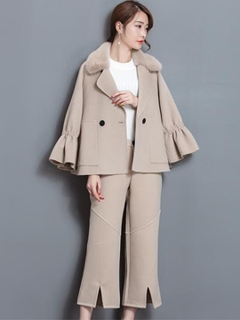 Ericdress Asymmetric Double-Breasted Woolen Coat Wide Legs Pants Suit