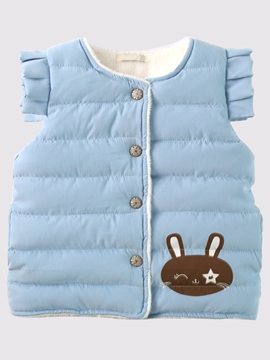 Ericdress Round Neck Solid Color Girls Cotton-padded Vest