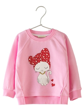 Ericdress Cute Cat Print Long Sleeve Baby Girls T-Shirt